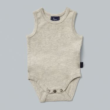 Pappe Grey Nimmy Luxe Organic Sleeveless Body Suit 0-3m