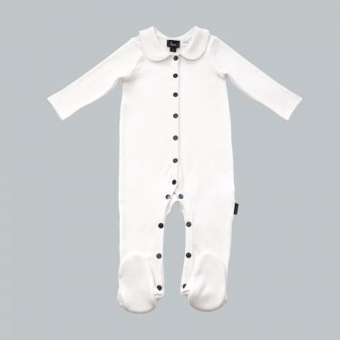 Pappe Tolly White Luxe Organic Footed Romper 0-3m