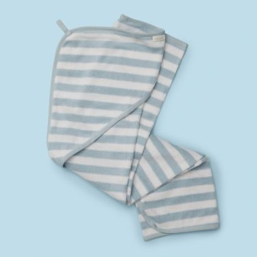 Purebaby Hooded Towel in Pale Blue Stripe