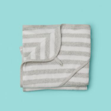 Pure Baby Hooded Towel Grey Stripe