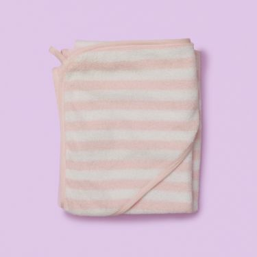 Purebaby Hooded Towel Pale Pink Stripe