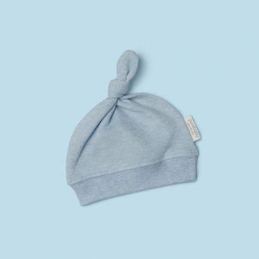 Purebaby Knot Hat Blue Melange