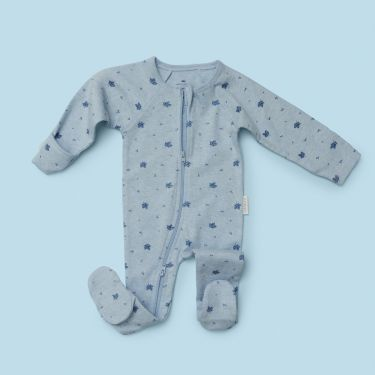 Purebaby Zip Growsuit in Pale Blue Melange size 000
