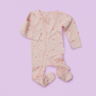 Purebaby Zip Growsuit Pale Pink in size 000