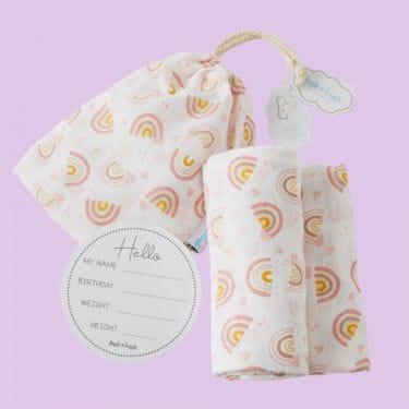 Jiggle and Giggle Rainbow Muslin Wrap and Arrival Card