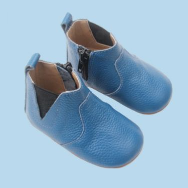 Sienna Baby Blue Leather Baby Boots with Soft Sole and Zip 6 to 12 Months