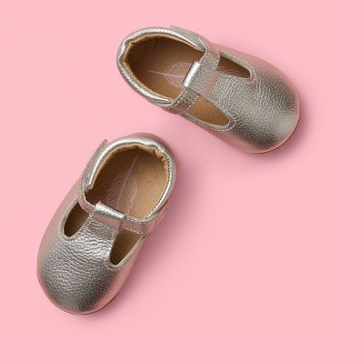 Sienna Baby Silver Leather Mary Jane Baby Shoes with Soft Sole 6 to 12 Months