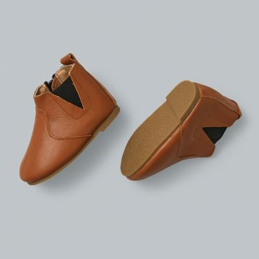Sienna Baby Tan Leather Baby Boots with Hard Sole and Zip 24-30 Months