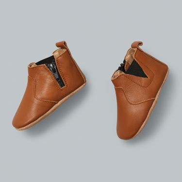 Sienna Baby Tan Leather Baby Boots with Soft Sole and Zip 12 to 18 Months
