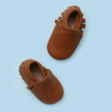 Sienna Baby Tan Leather Baby Moccassins with Soft Sole 6 to 12 Months