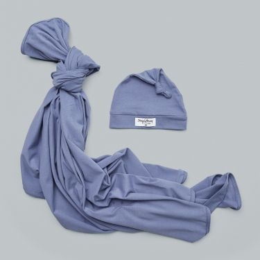 Snuggle Hunny Kids Indigo Baby Wrap and Knot Hat