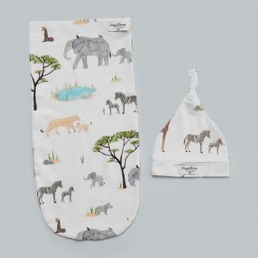 Snuggle Hunny Kids Safari Swaddle Sack and Beanie
