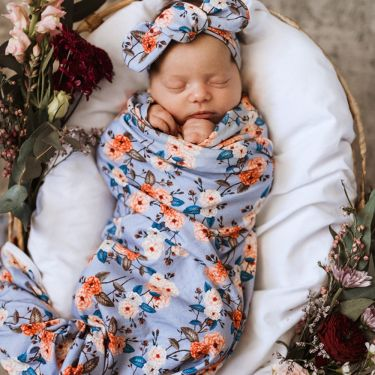 Snuggle Hunny Kids Vintage Blossom Jersey Wrap Topknot Baby Girl