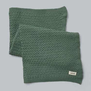 Uimi Ruby Merino Wool Baby Bassinet Blanket in Jade