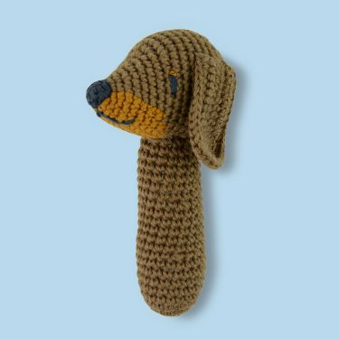 Weegoamigo Sausage Dog Crochet Rattle Toy
