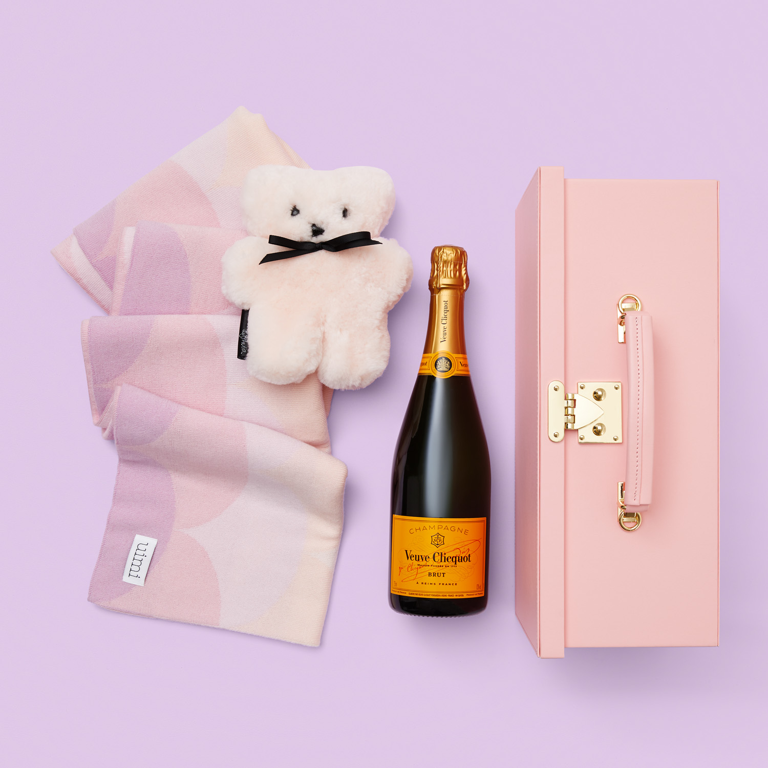 Baby girl gift with Veuve Clicquot french Champagne