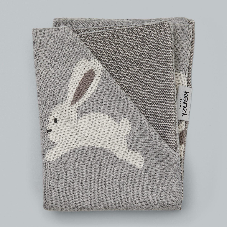 Kenzi Living Grey Bunny Bassinet Blanket