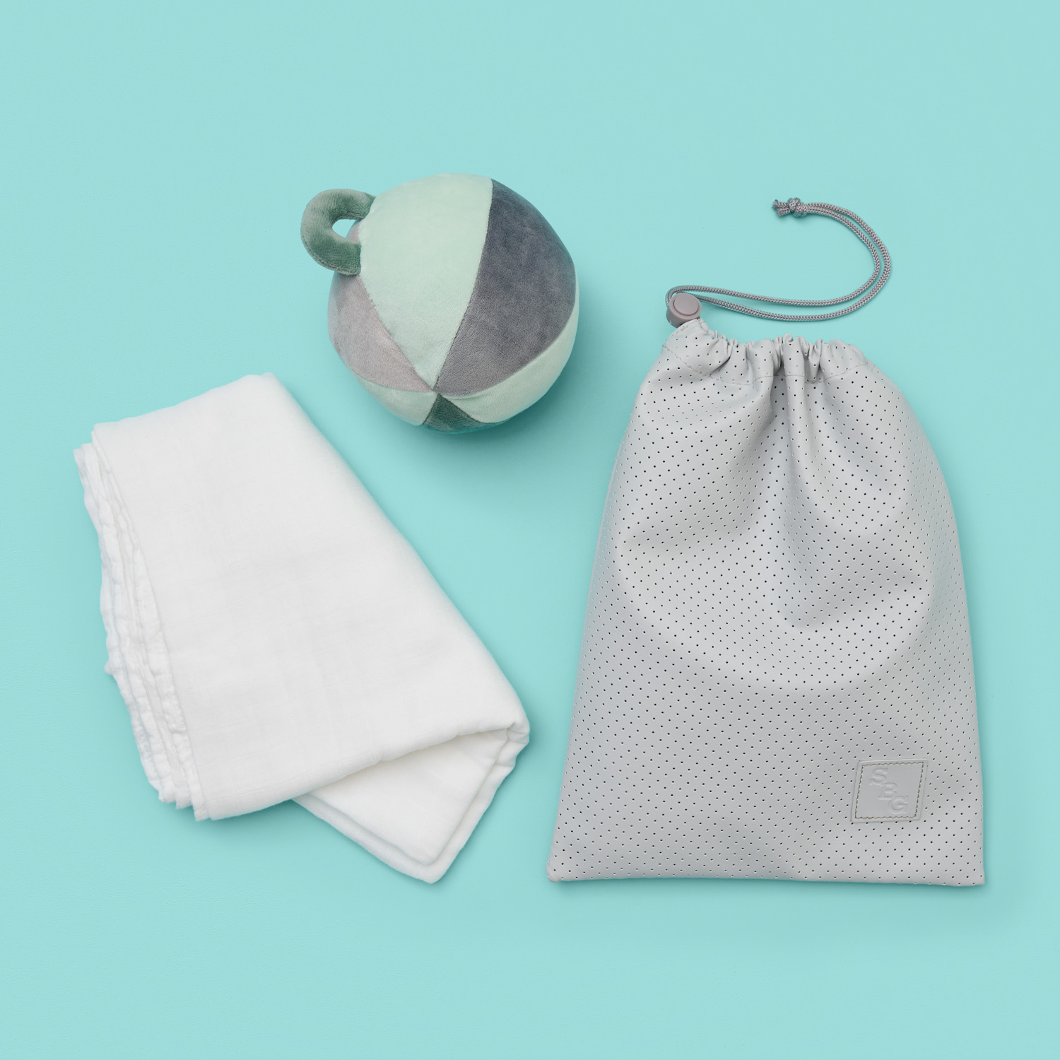 mint snuggle and roll baby gift hamper